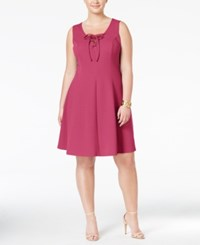 Love Squared Trendy Plus Size Lace Up Fit And Flare Dress Magenta