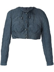 Romeo Gigli Vintage Cropped Hooded Jacket Blue