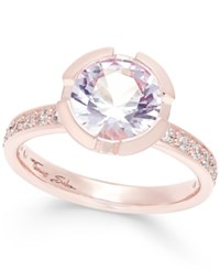 Thomas Sabo Pink Crystal Solitaire Ring In 18K Rose Gold Plated Sterling Silver