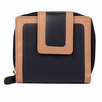Dents Ladies Small Zip Round Two Colour Purse Navy