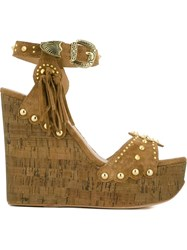 Ash 'Bliss' Studded Wedge Sandals Nude And Neutrals