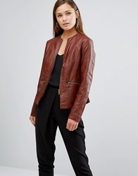 Oasis Faux Leather Collarless Jacket Chestnut Brown