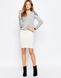Noisy May Focus Body Conscious Midi Skirt White