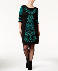 Ny Collection Plus Size Jacquard Sweater Dress Green Black