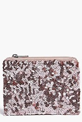 Boohoo All Over Sequin Purse Blush