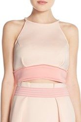 Elliatt 'Splendor' Colorblock Ponte Crop Top Pink