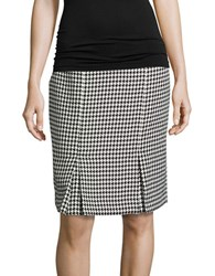 Nipon Boutique Houndstooth Pencil Skirt Black Ivory