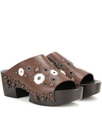 Bottega Veneta Embellished Leather Clogs Brown