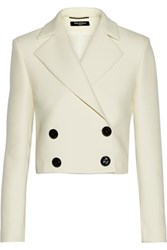 Pedro Del Hierro Madrid Espartaco Cropped Wool And Cotton Blend Jacket Ivory