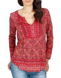 Lucky Brand Printed Cotton Blend Tunic Red Multi