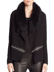 Generation Love Arielle Fur Trim Cardigan Black