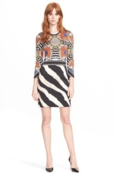 Just Cavalli Floral And Zebra Print Body Con Jersey Dress Zebra Sunflower Print