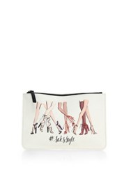 Saks Fifth Avenue Saksstyle Leg Print Faux Leather Pouch White Multi