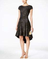 B Michael Cap Sleeve High Low Fit And Flare Dress