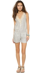 Twelfth St. By Cynthia Vincent Embroidered Stripe Romper Black Stripe