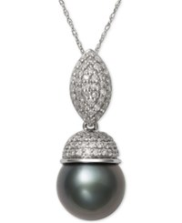 Macy's Cultured Tahitian Black Pearl 9Mm And Diamond 3 8 Ct. T.W. Pendant Necklace In 14K White Gold