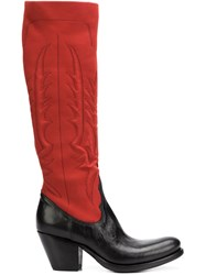 Rocco P. Bicolour Boots Red