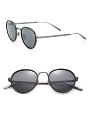 Bottega Veneta 49Mm Round Titanium And Acetate Sunglasses Rust