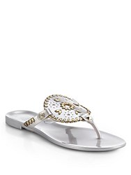 Jack Rogers Georgica Metallic Jelly Thong Sandals Silver Gold