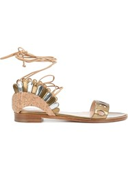 Paula Cademartori 'Lotus' Flat Sandals Yellow And Orange