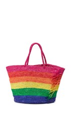Sensi Studio Candy Stripe Frayed Woven Tote Unique