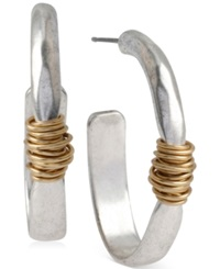 Robert Lee Morris Soho Two Tone Wire Wrapped Oval Hoop Earrings Two Tone