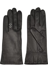 Agnelle Studded Leather Gloves Black