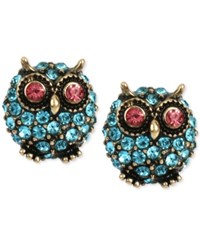 Betsey Johnson Gold Tone Blue Pave Owl Stud Earrings