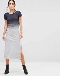 Uncivilised Canyon Ombre T Shirt Maxi Dress Charcoal Ombre Grey