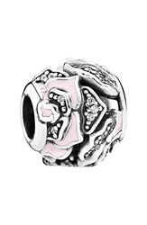 Pandora Design 'Delicate Rose' Bead Charm Silver Clear