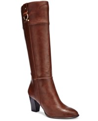 Alfani Women's Courtnee Tall Wide Calf Boots Only At Macy's Women's Shoes Cognac