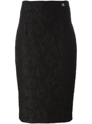 Class Roberto Cavalli Lace Pencil Skirt Black