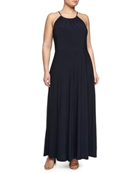 Melissa Masse Keyhole Sleeveless Maxi Dress Navy