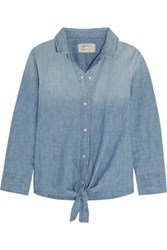 Current Elliott The Western Tie Front Cotton Blend Chambray Shirt Mid Denim