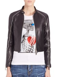 Dsquared Ovine Leather Sleeve Zipper Jacket Black