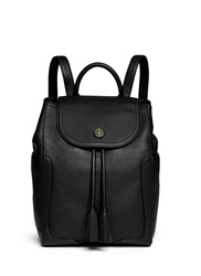 Tory Burch 'Frances' Pebbled Leather Flap Backpack Black