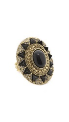 House Of Harlow Wari Ruins Cocktail Ring Black Gold