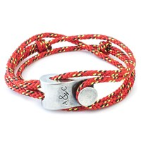 Anchor And Crew Falmouth Rope And Silver Bracelet Solid Red