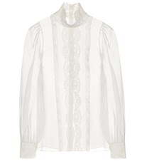 Dolce And Gabbana Lace Trimmed Silk Organza Blouse White