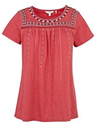 Fat Face Callie Embroidered T Shirt Burnt Red
