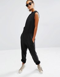 Daisy Street Relaxed Sleeveless Jumpsuit With Wrap Back Black