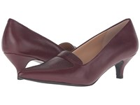 Trotters Piper Burgundy Glazed Kid Leather Snake Embossed Women's 1 2 Inch Heel Shoes Brown