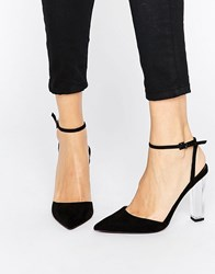 Asos Paolo Pointed Clear Heels Black