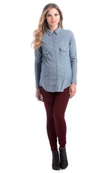 Women's Lilac Clothing 'Heather' Chambray Button Down Maternity Shirt