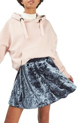 Topshop Women's Velvet Skater Skirt Grey