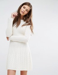 Boss Orange By Hugo Wedenas Cableknit Long Sleeve Dress Cream