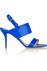 Paul Andrew Civic Patent Leather Sandals Blue