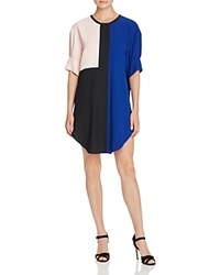 Timo Weiland Jennica Color Block Crepe Shirt Dress Black Blue