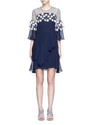 Peter Pilotto Floral Lace Ruffle Silk Georgette Dress Multi Colour