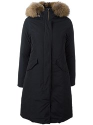 Woolrich Raccoon Fur Hooded Parka Blue